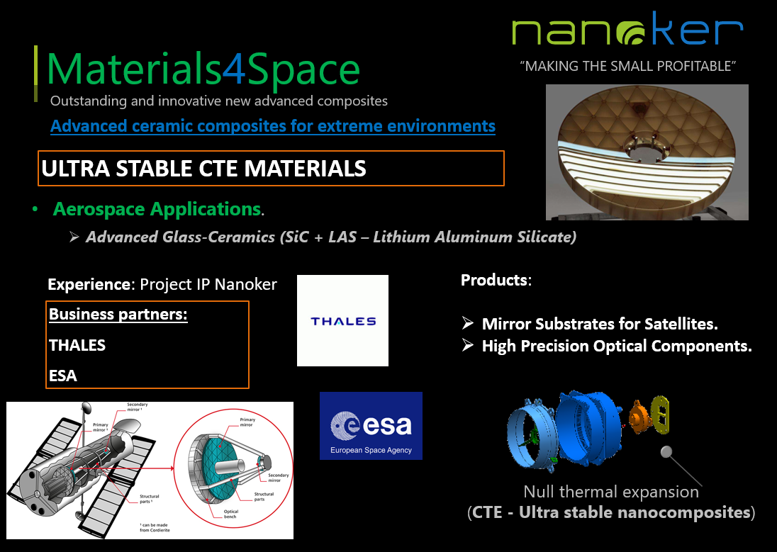Ultra Stable CTE Materials. Null CTE for Aerospace Applications. Mirror Substrates for Satellites. High precision optical components.